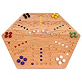 AmishToyBox.com Aggravation Game Board Set - 24' Wide - Oak Wood - Double-Sided - with Large 22mm Marbles and Dice Included