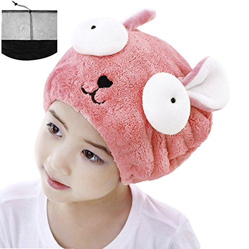 Price comparison product image Girls' Super Absorbent Hair Drying Wrap Towel Hat Cartoon Cute Rabbit Coral Velvet Wet Hair Dry Turban Wrap Quick Dry Head Towel Cap Hat for Bathing Shower Washing Hair Spa Towel for Kids,  Pink