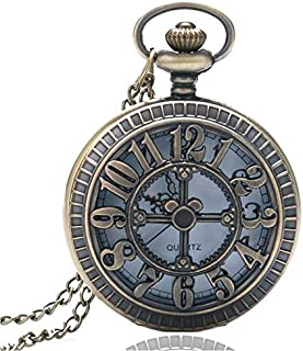 "Yash Retro Style Quartz""Bronze Fashion Number"" Pocket Watch with Chain & Gift Box"
