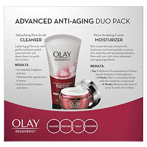 51YwxhnXuFL - Face Wash by Olay Regenerist Advanced Anti-Aging Pore Scrub Cleanser (5.0 Oz) and Micro-Sculpting Face Moisturizer Cream (1.7 Oz) Skin Care Duo Pack, Total 6.7 Ounces Packaging may Vary