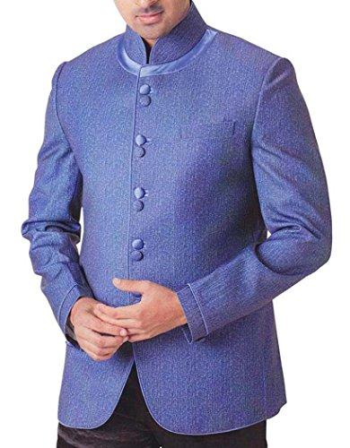 INMONARCH Hommes Bleu 2 Pc Costume Smoking Style Col Nehru TX761R36 46 Or S (Hauteur 171 cm a 180 cm) Bleu