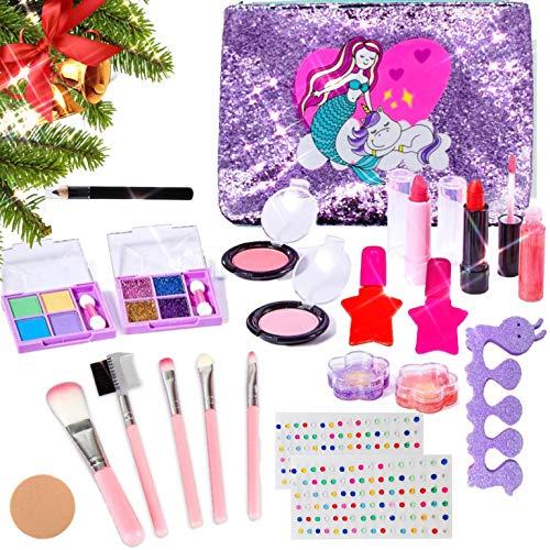 MEIRUIER 23pcs Kit de Maquillaje Niñas,Juguetes para Chicas, Cosméticos Lavables, Regalo de Princesa para Niñas en Fiesta,Cumpleaños,Navidad con Bolsa de Sirena