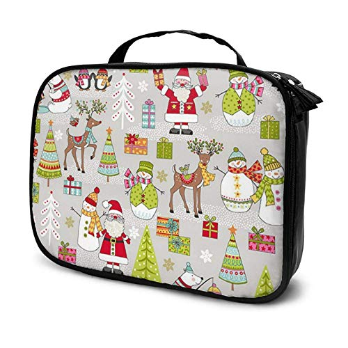 Festive Christmas Winter Scene Makeup Bag Cosmetic Organizer Toiletry Beauty Case Travel Pouch