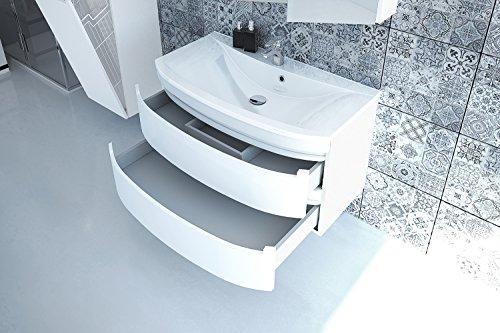 Devo, Dynamic Plus, Waschplatz, Waschbecken, Waschbeckenunterschrank, MDF laminiert mit PVC, Mineralguss, Arctic Weiß Hg, 90 x 49 x 50 cm