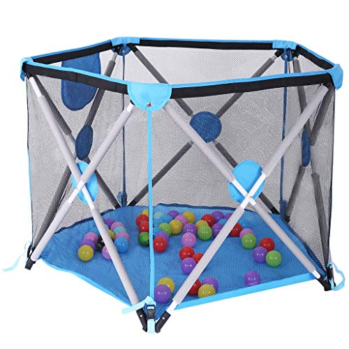 Portable Foldable Baby Playpen, Lightweight Mesh Travel Game House with Sturdy Bases Cushioning for Safety,Best Baby Playard for Indoor and Outdoor with Carry Case and Washable (5 Panel)