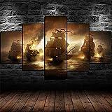 YUXIXI Wandbilder Bootslackierung Drucke 5 Teilig Leinwand Wand Aufhängen Hd Print Gedruckt Malerei Wohnzimmer Schlafzimmer Wohnkultur Poster*/