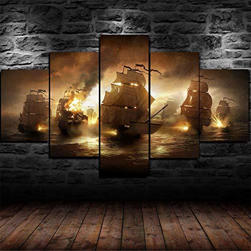 Cuadro Sobre Lienzo 5 Piezas Impresión En Lienzo Ancho: 150Cm, Altura: 100Cm Listo Para Colgar-Cuadro Grandes Barcos Piratas En Un Marco