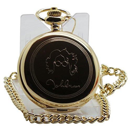 John Lennon signierte Taschenuhr, 24 kt vergoldet, Geschenk in Box, ein tolles Sammlerstück für Lennon Beatles-Fans und Sammlerstücke