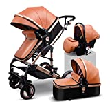 Anti-Shock Luxury Baby Stroller 3 in 1,Babyfond Convertible Bassinet to Toddler Stroller,Reinforced Frame for Safety,Vista Pram,Quick Fold Baby Carriage (Brown)