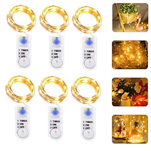 Micro LED Lichterkette Batterie Betrieb mit Timer, 6 Stück 2 Meter 20er IP65 Wasserdicht Drahtlichterkette für Party, Garten, Weihnachten, Halloween, Hochzeit, Beleuchtung Deko