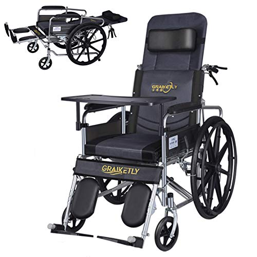 L-LIPENG Rollstuhl,Faltrollstuhl fur altere Und Behinderte,Tragbarer Transit Rollstuhl, Pflegerollstuhl mit Liegefunktion, Fahrbarer Toilettenstuhl,360°C Drehbar mit Feststellbremse