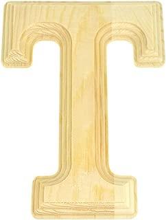 Homeford Pine Wood Beveled Wooden Letter T, Natural, 6-Inch