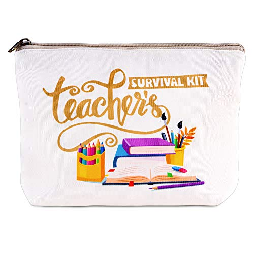 Hohomark Teachers Survival Kit Teacher Gifts Bag,7'x9' Makeup Pouch Cosmetic Bag Travel Toiletry Case Pencil Bag with Zipper for Teacher Appreciation Gift