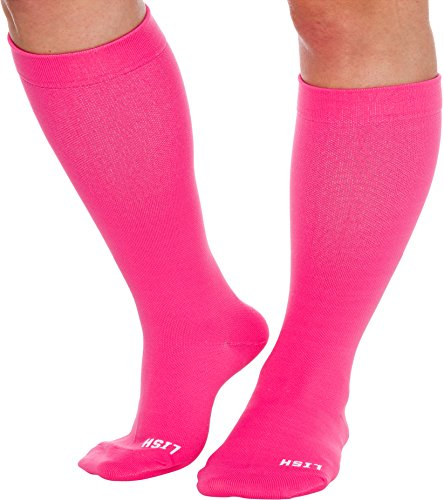 Plain Jane Wide Calf Compression Socks - Graduated 15-25 mmHg Knee High Plus Size Support Stockings by LISH (Hot Pink, M/L)