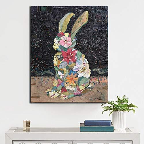 Geiqianjiumai Tierkaninchenölgemälde Moderne Kaninchendruckwandkunstplakate und druckt Bilder Dekoration Wohnzimmerplakat rahmenloses Gemälde 50X75CM
