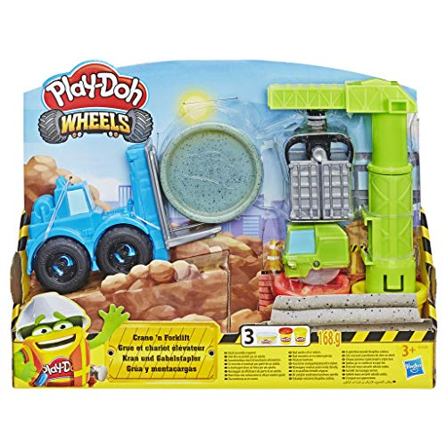 Play-Doh Wheels Crane and Forklift Construction Toys with Non-Toxic Play-Doh Cement Buildin' Compound Plus 2 Additional Colours
