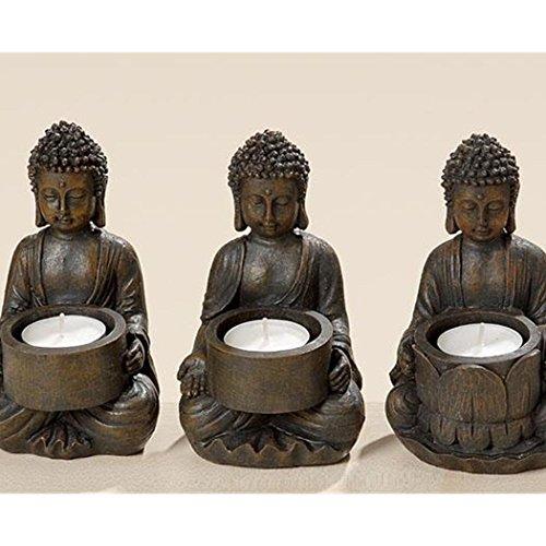 Boltze Teelichthalter 'Buddha' aus Kunstharz, 9 x 9 x 14 cm (Modell zufällig, 1 Stück)
