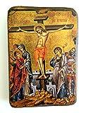 IconsGr Ikonenbild, auf Holz, handgefertigt, Motiv: Jesu' Kreuzigung, griechisch-orthodoxes Heiligenbild