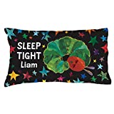 Eric Carle Very Hungry Caterpillar Personalized Pillowcase, Custom Name Printed on Sleep Tight Black Pillow Cover, 20' x 31', Official Licensed Product