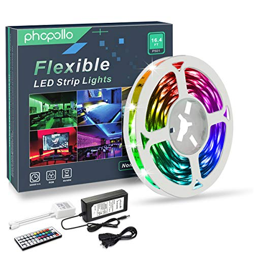 PHOPOLLO LED Strip Lights, 16.4ft RGB Color Changing LED Lights Strip, 5050 Flexible LED Tape Light with 44-Key IR Remote Controller and 12V Power Supply, Ideal for Bedroom Home and Holiday Decoration