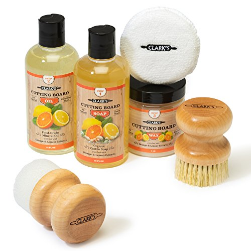 CLARK'S Complete Cutting Board Care Kit | Cutting Board Oil (12oz) - Soap (12oz) - Finish Wax (6oz) - Applicator - Scrub Brush - Finishing Pad | Orange & Lemon Scented