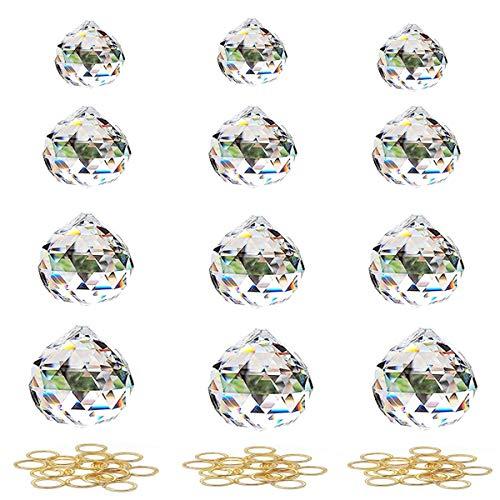Senteen Klarer Kristallglaskugeln, 12 Pcs Regenbogenkristall Sonnenfänger Kristallglas Anhänger für Vorhang Lampe Garten Party Hochzeit Dekor