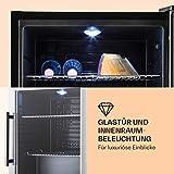 Klarstein Beersafe XL - Minibar, Mini-Kühlschrank, Getränkekühlschrank, 60 Liter, leise, 42 dB, Edelstahl, Glastür, 2 Einschübe, 5-stufiger Temperaturregler, schwarz-silber - 3