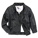 LJYH Boys Faux Leather Jacket New Spring Children's Collar Motorcycle Leather Zipper Coat Black 9/10 (140)