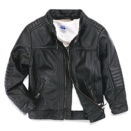 LJYH Boys Faux leather jacket children's collar motorcycle leather zipper coat black 4/5 (110)