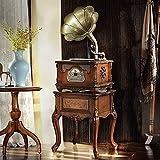 SXLCKJ Gramófono, Bronce Vintage Clásico Retro Antiguo Fonógrafo Gramófono Tocadiscos Disco de Vinilo Reproductor (Tocadiscos)