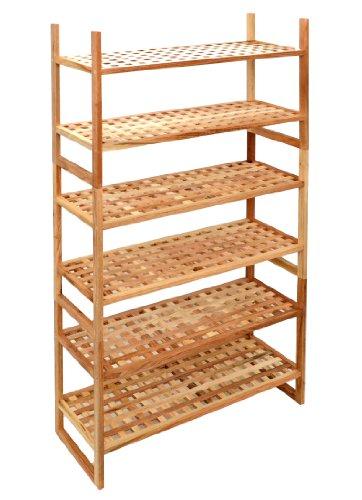 3-fach Schuhregal Bad Flur Dielen Küchen Regal Steckregal 69 cm x 120 xm Walnuss Massiv Holz