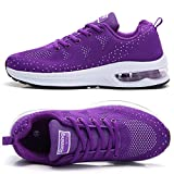 TSIODFO Purple Shoes for Women Fashion Sport Running Walking Shoes mesh Breathable Comfort Cushion Athletic Sneakers Ladies runenr Gym Jogging Shoes Size 7