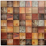Dundee Deco PG7022 Multicolor Faux Timber, 3.1 ft x 1.6 ft, PVC 3D Wall Panel, Interior Design Wall Paneling Decor, 4.9 sq. ft.