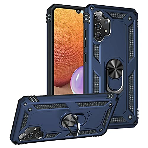 Funda para Samsung Galaxy A32 5 g, resistente a los arañazos, antigolpes, con soporte de anillas, protección militar con soporte giratorio horizontal y vertical, para Samsung Galaxy A32 (azul)