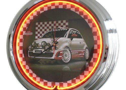 Neon Uhr Abarth Race-Car FIAT 500 Wanduhr Deko-Uhr Leuchtuhr USA 50's Style Retro Uhr Neonuhr