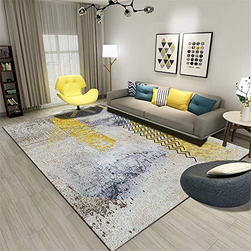 WQ-BBB Tapetes para Mesa Duradero Decoración de Estilo Abstracto Gris Azul Amarillo cojin para Lectura Infantil 180X280cm