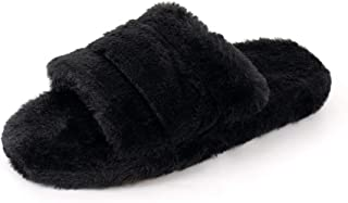 FUNKYMONKEY Women's Faux Fur Slippers Open Toe Comfy House Slides