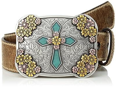 Ariat Women's Multi Metal Cross Buckle Belt, brown, Small