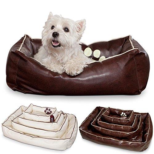 SMOOTHY Hundekorb Hundebett aus Leder Hunde-Körbchen Kissen für Hunde und Katzen aus extrem robusten & kratzfesten Kunstleder schmutzresistent und wasserabweisend (S - 62 x 42 cm, Braun)
