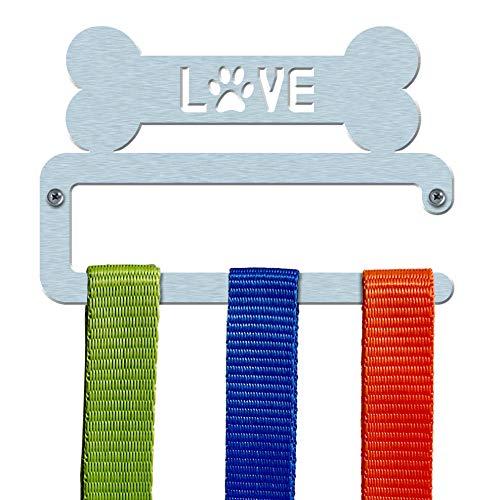 Hundeleine/Zubehör Halterung aus Edelstahl gebürstet 'Love Bone' gerade Bar Design–Made in Großbritannien
