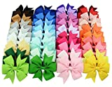 40 pc / pacchetto archi dei capelli del nastro Nastro per capelli clip colore puro tornante Accessori dei capelli per neonate bambine ragazzi