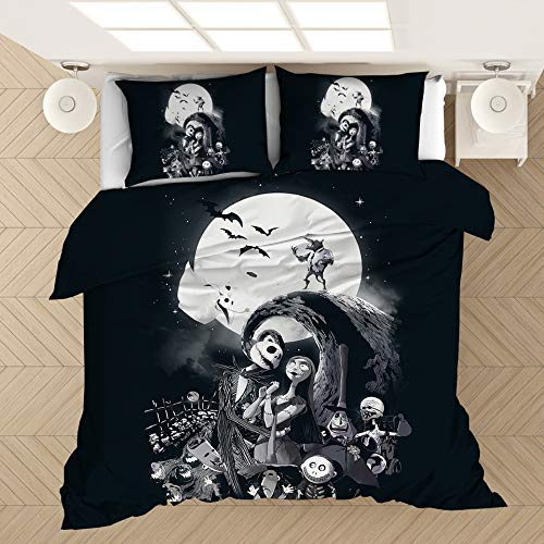 Nightmare Before Christmas Bedding Set, 3D Cartoon Christmas Skull Duvet Cover Set with Pillowcases Single/Double/King Size Kids Adult Bedding Cover Set for Winter Autumn Summer (200x200-3pcs,A)