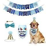 Set de Cumpleaños para Perro Bufanda de Cumpleaños para Perro Triángulo de Pañuelo de Cumpleaños para Perro Sombrero Pañuelo Banner de Cumpleaños para Perro para Perro Regalo Decoración de Fiesta Azul