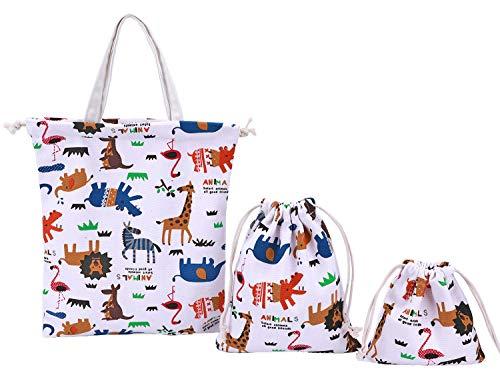 abaría - Set de 3 bolsos tela algodón para niño (1 bolsos totes y 2 organizadores bolsas con cuerda) - Animal