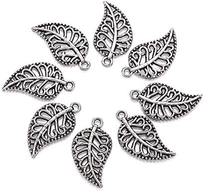 Craftdady 20pcs Antique Silver Filigree Hollow Leaf Pendants 18x10mm Tibetan Metal Dangle Charms product image