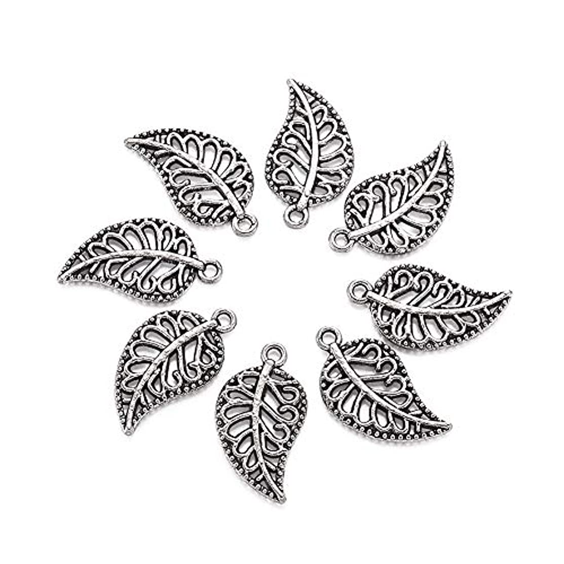 Craftdady 20Pcs Antique Silver Filigree Leaf Alloy Charms 18x10mm DIY Jewelry Necklace Earring Bracelet Craft Making Tibetan Style Pendants