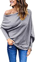 GOLDSTITCH Women's Off Shoulder Batwing Sleeve Loose Pullover Sweater Knit Jumper Oversized Tunics Top