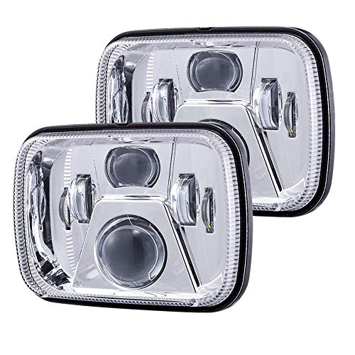 Afeax New Osram Chips 110W 5x7 Inch Led Headlights 7x6 Led Sealed Beam Headlamp with High Low Beam H6054 6054 Led Headlight Replacement for Jeep Wrangler YJ Cherokee XJ H5054 H6054LL 6052 Silver 2 Pcs