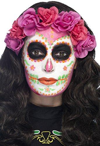 Smiffys Kit de latex liquide fluo Jours des morts, avec pots de maquillage phosphorescen