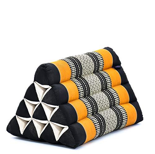 Leewadee Almohada Triangular tailandesa – Cojín de kapok sin Tratar, Respaldo cómodo para Leer, Almohadilla Hecha a Mano, 50 x 33 x 33 cm, Naranjo Negro